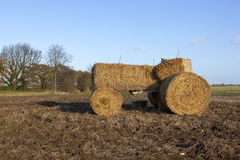 Straw bale tractor Royalty Free Stock Image
