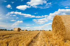 Straw Bales and Blue Sky Royalty Free Stock Photos