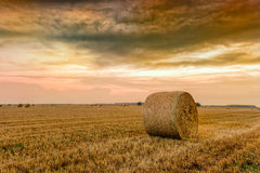 Straw bales with dramatic sky Royalty Free Stock Photos