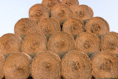 Straw bales on farmland. Bale of straw. Straw bales. Selective focus  Straw bales stacked on the pile Royalty Free Stock Photography