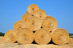 Straw bales on farmland Royalty Free Stock Image