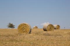 Straw bales. On farmland with a blue sky, Czech republic Royalty Free Stock Image