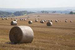 Straw bales. On farmland with a blue sky, Czech republic Royalty Free Stock Photography