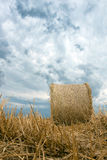 Straw bales on farmland Storm clouds. Royalty Free Stock Photography