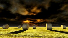 Straw bales on field. Against sky Royalty Free Stock Photo