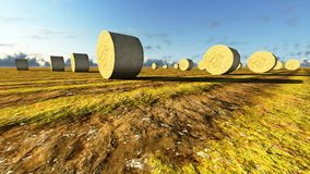 Straw bales on field Royalty Free Stock Photos