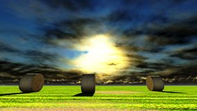 Straw bales on field. Against sky Royalty Free Stock Images