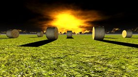 Straw bales on field. Against sky Royalty Free Stock Image
