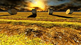 Straw bales on field. Against sky Royalty Free Stock Photos
