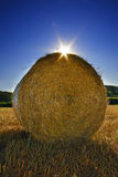 Straw bales on the field in England Stock Photo