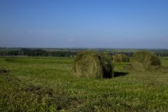 Straw bales on a field in the foreground.  Harvest of hay. Clouds in the sky. Agricultural farm. Hills with cultivated fields and. Straw bales on a field in the royalty free stock photo