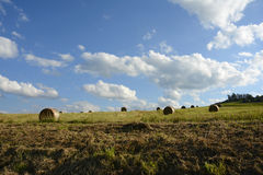 Straw Bales on the Field after Harvest, Czech repu Royalty Free Stock Photo