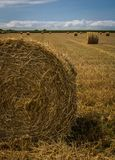 Straw bales at field after harvest. Straw bales at a stubble field after harvest in Normandy, France royalty free stock photo