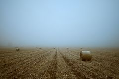 Straw bales on field royalty free stock image