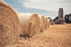 Straw bales field Stock Photography