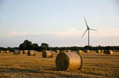 Straw bales in front of a windmill Stock Photography