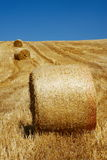 Straw bales in a line stock photo