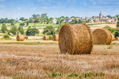 Straw Bales near the Sea in Normandy, France Royalty Free Stock Photography