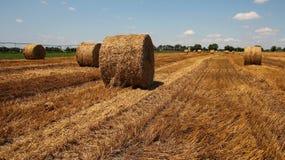 Straw Bales op een Stoppelveld Stock Foto's