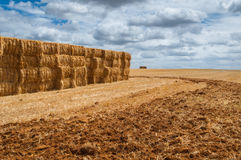 Straw bales over mown field, cloud cover Stock Photography