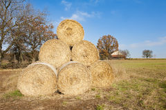 Straw bales pyramid Royalty Free Stock Photography