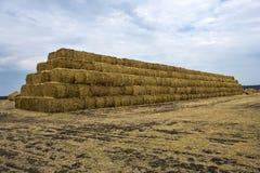 Straw bales pyramid Stock Photo