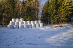Straw bales on rokke Stock Photos