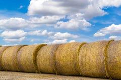 Straw Bales rond jaune et ciel bleu Photo stock
