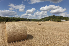Straw bales in Sarthe department Stock Photos