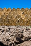 Straw bales stack Stock Photo