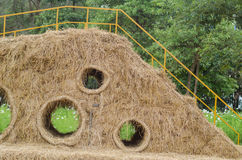 Straw bales stacked for children to play Royalty Free Stock Images