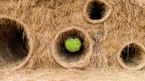 Straw bales stacked for children to play. Straw bales stacked for  play Royalty Free Stock Photography