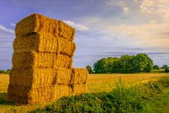 Straw Bales Stacked stock images