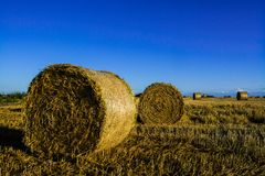 Straw bales on stunnle Royalty Free Stock Photography