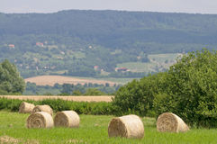 Straw bales at summer with hill Stock Photo