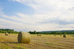 Straw bales at sunset Royalty Free Stock Image