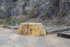 Straw bales tied Stock Photos