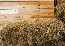 Straw bales and wooden. Stock Image