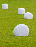 Straw bales wrapped in plastic stock image