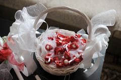 Straw basket with decorative elements. And accessories for wedding Royalty Free Stock Photos