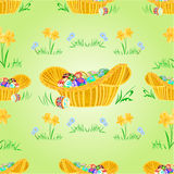Straw basket with Easter eggs seamless texture vector Royalty Free Stock Images