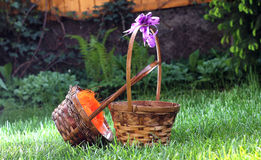 Straw basket Stock Images