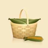 Straw basket with a handle and reflection Stock Images