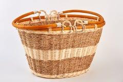 Straw basket isolated on white. royalty free stock image