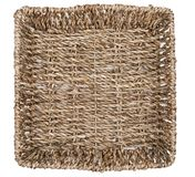 Straw basket, tray, bowl, mat, isolated on white background. Biodesign. Eco-friendly dishes royalty free stock images