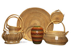Straw baskets Stock Photography