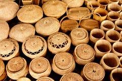 Straw baskets Stock Photo