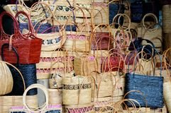 Straw baskets Stock Photos