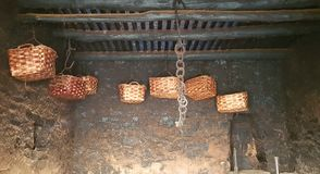Straw baskets in italy. Straw baskets hanging on the ceiling of an Italian stall Stock Photography