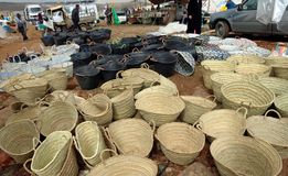 Tuesday Souk In Azrou, Morocco. Straw baskets for sale at the the Berber Souk in Azrou, Morocco. It is a weekly market that takes place on Tuesdays. It sells stock photos
